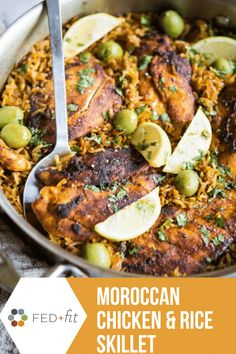 This Moroccan Chicken & Rice Skillet is a super flavorful dish that is a perfect addition to your weeknight menu. With everything in one pan you can have dinner on the table quickly! Moroccan Rice, Moroccan Chicken, Chicken Rice Skillet, Fed And Fit, Paleo Chef, Easy One Pot Meals, Easy Dinners, Kitchen Recipes, Weeknight Meals