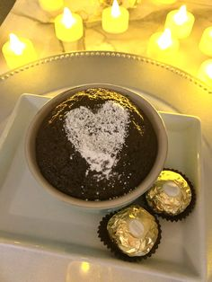 Finish off a great romantic evening of delicious food with this easy and tasty chocolate dessert with Ferror Rocher in the middle for oozy nutty goodness. Chocolate Desserts, Melting Chocolate, Delicious Food, Tasty, Plain Cake, Just Serve, Valentine Chocolate, Romantic Evening, How To Double A Recipe