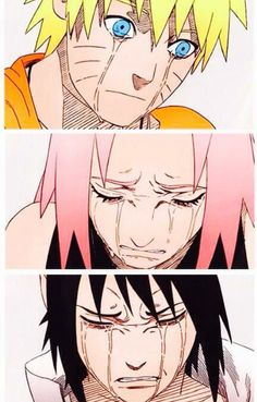 涙のナルト、サクラ、サスケ|鳴人 小櫻 佐助| Naruto after Jiraiya's death. Sakura after she realized how much pain she put Naruto through with the promise to bring Sasuke home. Sasuke after finding out the truth about Itachi. Itachi, Naruto Uzumaki, Anime Naruto, Naruto Gaiden, Gaara, Manga Anime, Naruto Team 7, Naruto Sasuke Sakura, Sakura Haruno