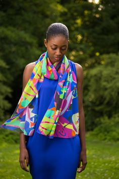 Tallawa Fall 13: Romare's Garden  www.tallawacollection.com @TALLAWAnyc  fashion, prints, art, printspiration, style, scarf, cobalt, blue, indigo