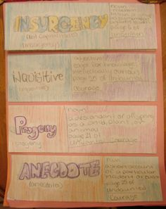 Some of my students are now using creative layouts to present the vocabulary words they submit every two weeks to me.  Here is a flip book made by 7th grader Tiffany, which earned her a vocab collecting award.  See more details of Tiffany's layout here: http://www.pinterest.com/pin/450852612668432982/