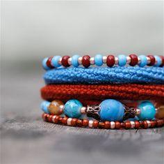 Wrap Crochet Cuff Bracelet in Blue Rusty Brown and by byMarianneS, $30.00