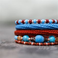 Wrap Crochet Cuff Bracelet in Blue Rusty Brown and by byMarianneS, $30.00
