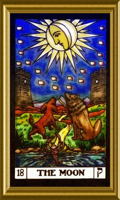 Tarot Card 18 The Moon The Moon Tarot Card, Online Tarot, Tarot Major Arcana, Oracle Cards, Tarot Decks, Tarot Cards, Tattoo Inspiration, Fantasy Art, Tattoo Ideas