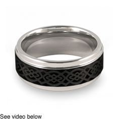 @Overstock - Lasered Celtic knot design ringTwo-tone tungsten jewelryClick here for ring sizing guidehttp://www.overstock.com/Jewelry-Watches/Mens-Tungsten-Two-Tone-Lasered-Celtic-Knot-Ring-9-mm/3281151/product.html?CID=214117 $35.99