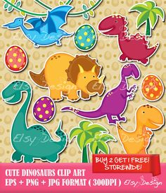 Cute Dinosaurs Clip Art Comes with Free Digital by ElsyDesign, $5.00