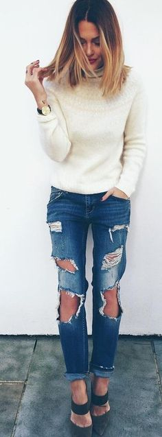 White Sweater On Shredded Denim | Caroline Receveur