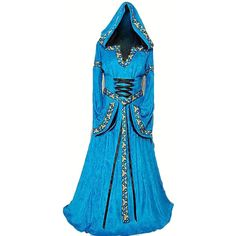 Blue Womens Medieval Queen Dress Renaissance Halloween Costume ($72) ❤ liked on Polyvore featuring costumes, dresses, cloaks, gown, blue, lady costumes, womens renaissance costumes, queen costume, ladies costumes and renaissance costume