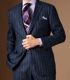 Blue pinstripe suit.
