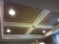 Easy coffered ceiling #diy Home Ceiling, Ceiling Decor, Ceiling Design, Cool Basement Ideas, Basement Renovations, Home Remodeling, Coffered Ceilings, Ceiling Beams, Basement House