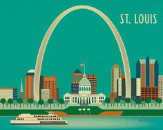 St Louis Missouri Skyline  City Art Poster Print  by loosepetals, $26.00