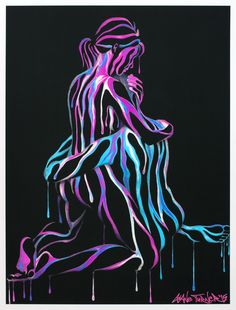 Print of the painting right here in my arms by Shane Turner. Image is of a loving couple's embrace, with the figures created using surrealistic colorful neon dripping paint and negative space.