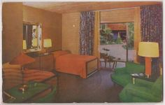 Hollywood California Postcard Roosevelt Hotel - Room Interior View 1957 Postmark