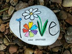 Love one another painted rock painted rocks ideas камни, вал Rock Painting Patterns, Rock Painting Ideas Easy, Rock Painting Designs, Pebble Painting, Pebble Art, Stone Painting, Pebble Stone, Stone Crafts, Rock Crafts