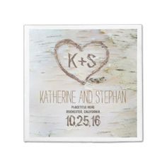 Gorgeous and romantic paper napkins with carved love heart and bride and groom's initial on the birch tree bark.