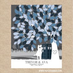 TARDIS Wedding Guestbook Dr Who Wedding Unique by PaperRamma