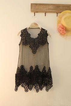 Stunning V-Neck Embroidery Wave Style Hem Transparent Sleeveless Net Dress For Women