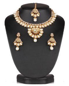 Beautiful design White polkistones and Imitation Pearls Polki Gold Plated Jewellery Set-0621PLKP13   http://www.craftandjewel.com/servlet/the-1892/Beautiful-design-White-polkistones/Detail