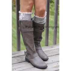 Soft Gray Leg Warmers with knit lace trim & buttons, legwarmers- boot... ($25) ❤ liked on Polyvore featuring intimates, hosiery, boots, gray leg warmers, lace hosiery, cable knit leg warmers, long leg warmers and grey leg warmers