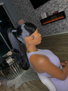Slick Ponytail, Hair Ponytail Styles, Black Girl Braided Hairstyles, Slick Hairstyles, Baddie Hairstyles, Hair Styles, Ponytail With Braiding Hair, Ponytail Hairstyles With Weave, Weave Ponytails With Bangs