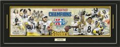Pittsburgh Steelers Super Bowl XL Steelers Champions Photoramic Composite Photo Collage Framed With Team Color Double Matting & A Name Plaque-Awesome & Beautiful-Must For Any Fan!