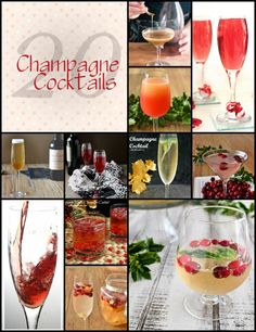 20 Champagne Cocktails, How to set up a Champagne Cocktail Bar and more. 20 Champagne Cocktails, How to set up Brunch Drinks, Cocktail Desserts, Cocktail Drinks, Fun Drinks, Cocktail Recipes, Bourbon Drinks, Beverages, Cocktail Photography, Food Photography