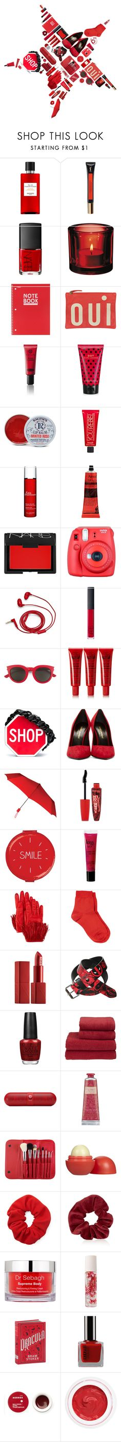 """Red Gifts"" by vendre-du-reve ❤ liked on Polyvore featuring Hermès, Yves Saint Laurent, NARS Cosmetics, iittala, Mead, Clare V., Koh Gen Do, Marc Jacobs, Rosebud Perfume Co. and Benefit"