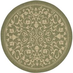 "Safavieh Courtyard Collection CY2098-1E06 Olive and Natural Round Area Rug, 5 feet 3 inches in Diameter (5'3"" Diameter)"