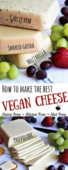 Have you ever wondered how to make vegan cheese? This vegan cheese made with coconut milk with blow you away! Recipes for vegan provolone vegan mozzarella vegan smoked gouda and vegan cheese with garlic and herbs. This cheese is vegan gluten free nu Best Vegan Cheese, Vegan Cheese Recipes, Dairy Free Cheese, Vegan Foods, Vegan Snacks, Vegan Dishes, Dairy Free Recipes, Vegan Gluten Free, Vegan Meals