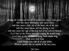 The Winter Solstice is always such a time of deep reflection and stillness for me, and the beauty found in the quiet candlelight or moonglow of the longest night. -Nuit