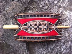 Hand carved leather hair barrette  tooled leather  stick
