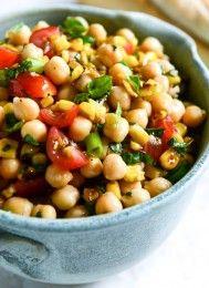 summer chickpea salad with honey garlic lime vinaigrette I howsweeteats.com