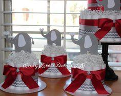 Elephant Mini Diaper Cake; Red & Gray Elephant Theme Diaper Cake; Elephant Baby Shower Decorations; Baby Shower Centerpieces