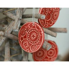 Red Ceramic Christmas Ornaments Lace Ceramic Winter Home Decoration... (€15) ❤ liked on Polyvore featuring home, home decor, holiday decorations, christmas gift sets, christmas holiday decor, red christmas tree ornaments, christmas home decor and ceramic christmas ornaments