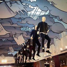 """Topman London. """" It's raining men"""" indoor display"""
