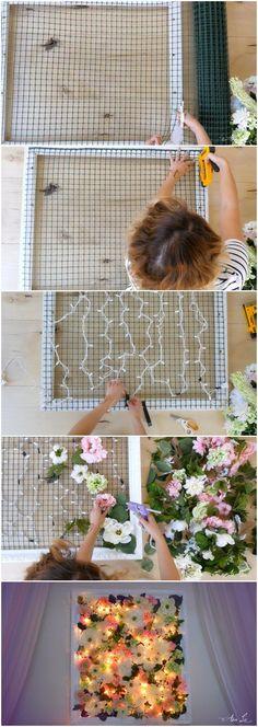 Decoración con luces y flores - lifeannstyle.com - DIY Light Up Flower Frame #manualidadesdecoracion