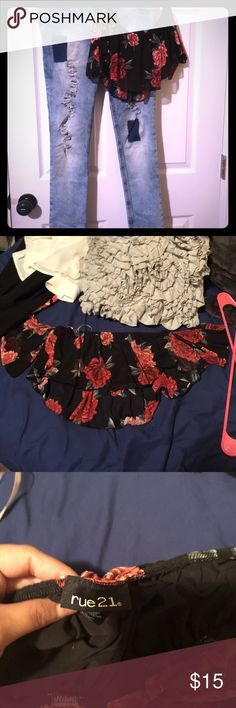 Crop top Crop top Black with red roses Size M It is a high cut crop top Off the shoulder No stretch  Jeans on my closet check them out!!🐝 Rue 21 Tops Crop Tops