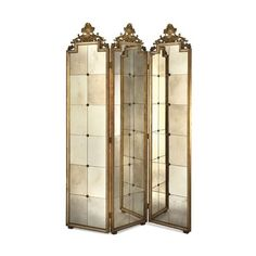 Elizabeth Marshall Three Panel Venetian Mirror Screen ($3,580) ❤ liked on Polyvore featuring home, home decor, panel screens, furniture, room dividers, backgrounds, mirror, gold home decor, gold home accessories and handmade home decor