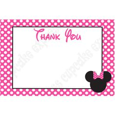 free minnie mouse printables | MINNIE MOUSE PRINTABLE 4X6 THANK YOU CARD PINK