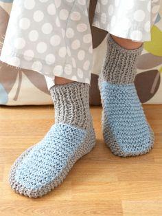 Cozy Slipper Socks | Yarn | Free Knitting Patterns | Crochet Patterns | Yarnspirations
