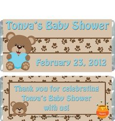 Teddy Bear Candy Wrappers http://www.thecandybarwrapper.com/bee-baby-blue-candy-wrappers.html  $0.87 ea.