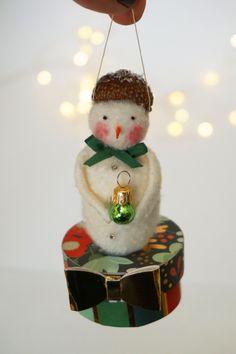 Unique Handmade Christmas Snowman Ornament has a Big Personality