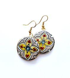 Hearts on Fire - Flat Earrings Fire Heart, Hearts, Hand Painted, Drop Earrings, Jewellery, Flat, Silver, Jewels, Bass
