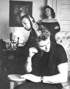 James Dean at a New Years Eve party with Bill Gunn & girlfriend Barbra Glenn in the background