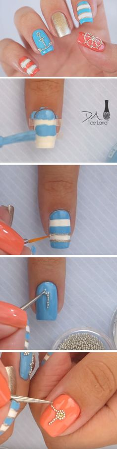Nautical + Microbeads | 18 Easy Summer Nail Art for Short Nails that scream summer!