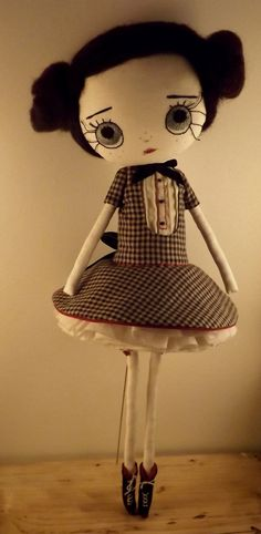 HELLEBORE ooak cloth doll handmade. by violettesmecaniques on Etsy