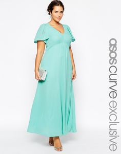 ASOS CURVE WEDDING Maxi Dress With Flutter Sleeve
