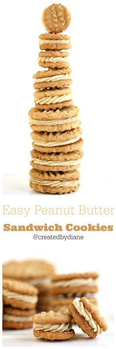 3 ingredient peanut butter cookies filled with peanut butter frosting…