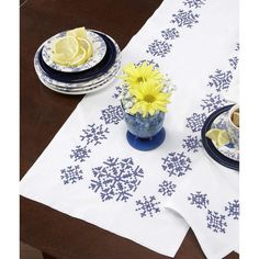 Craftways® Blue Snowflake Table Runner Stamped Cross-Stitch