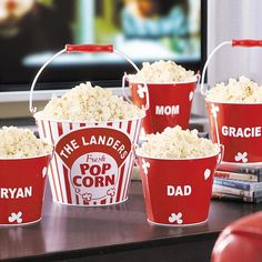 Need a unique gift? Send Movie Night Popcorn Bowl and other personalized gifts at Personal Creations. Great Christmas Gifts, Christmas Diy, Family Christmas, Popcorn Bowl, Popcorn Buckets, Popcorn Tins, Corn Pops, Family Movie Night, Metal Tins